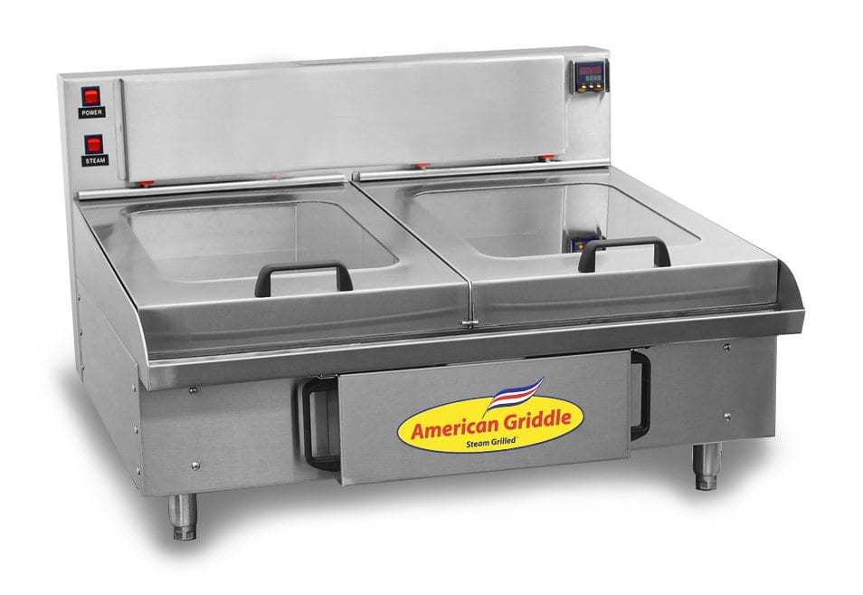 Commercial steam griddle with American Griddle logo
