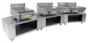Three American Griddle industrial steam griddles