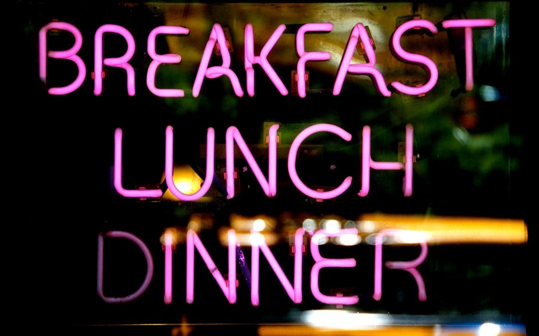 Breakfast Lunch and Dinner purple neon sign