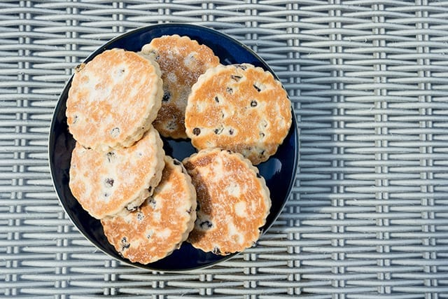 Welsh cakes or bakestones on a plate