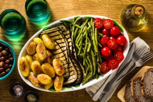 platter of tomatoes, asparagus, eggplant and more made with American Griddle Steam Shell Technology