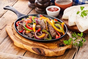 Beef Fajitas made on a skillet with vegetables