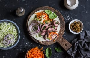 Steak tortilla with pickled carrots and cabbage