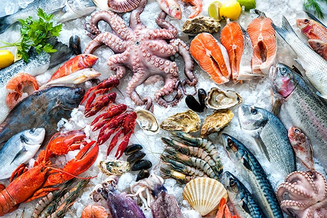 Seafood like octopus, lobster, fish, muscles on ice