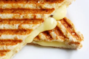 Close up on a grilled cheese sandwich